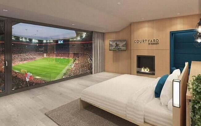 O estádio do Bayern de Munique contará com quarto de hotel para torcedor acompanhar partidas a partir de 2019