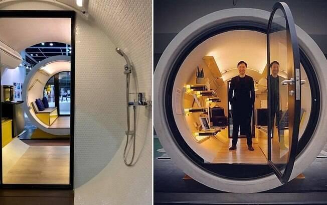 Cada tubo é equipado com um banco que vira cama, banheiro, microondas, frigobar e comportam até duas pessoas