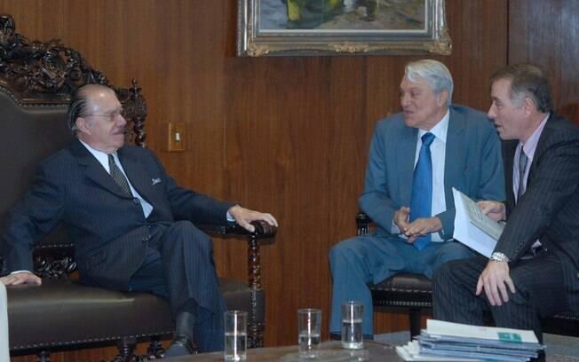 O presidente do Senado, José Sarney, durante audiência com o empresário Eike Batista (fevereiro de 2009). Foto: Agência Brasil