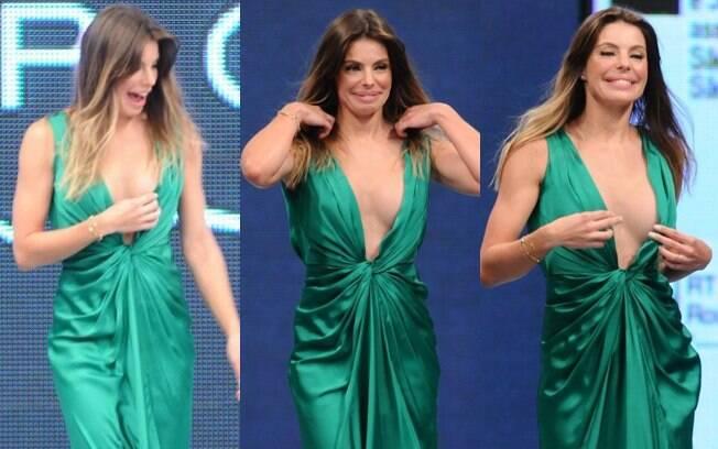 Daniella Cicarelli quase foi traída pelo vestido durante desfile em São José dos Campos