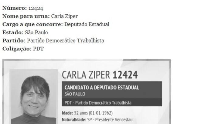 Nome para a urna do candidato: Carla Ziper