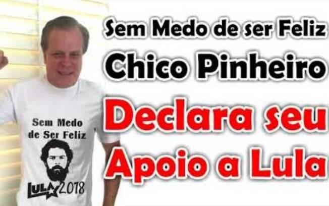 Chico Pinheiro deixa claro que é montagem a foto em que aparece revelando apoio a Lula