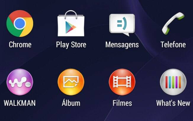 Ícones com degradê dos apps da Sony contrastam com visual sem relevo dos ícones do Android