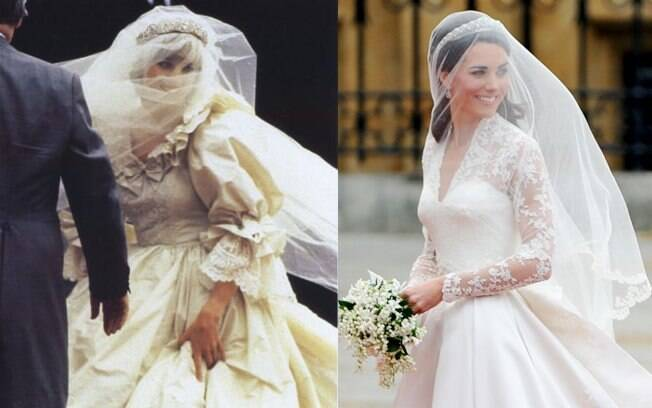 1981: O vestido bufante de Lady Di, com cauda de 7.5 metros, foi obra da dupla The Emanuels. 2011: Kate usou um vestido de Sarah Burton, sucessora de Alexander McQueen