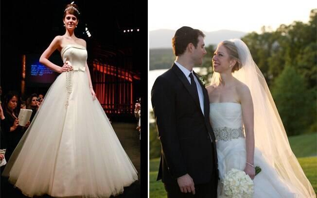 Estilo clássico é definido pela saia mais volumosa, como a de Chelsea Clinton. Ao lado, vestido de Solaine Picoli desfilado na Bride Style 2011