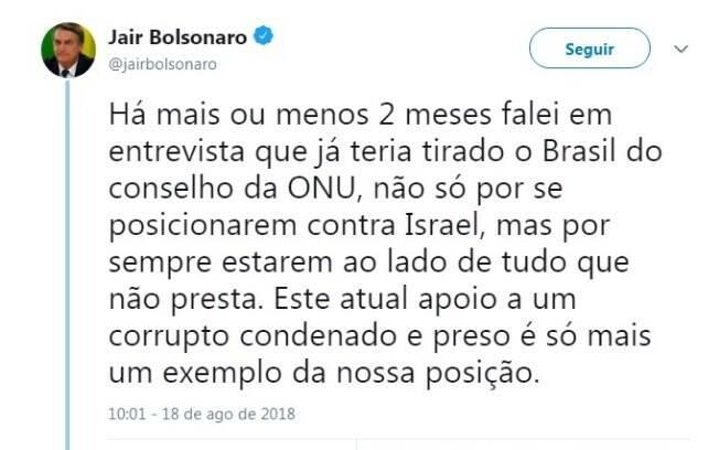 Jair Bolsonaro escreve crítica à ONU em sua página do Twitter e ameaça retirar País do órgão