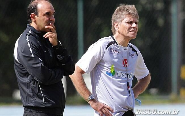 Paulo Autuori e Ricardo Gomes em treino do  Vasco em Juiz de Fora