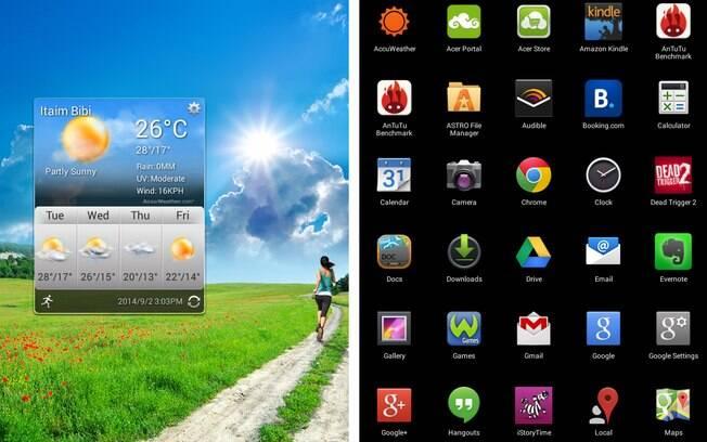 Telas Home e de aplicativos do Iconia One 7