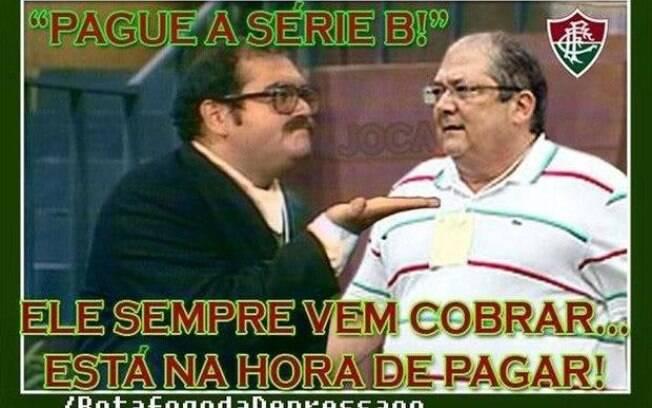 Piadas com rebaixamento do Fluminense à Série B do Campeonato Brasileiro.  Foto  Reprodução fd9b4c67d0ec2