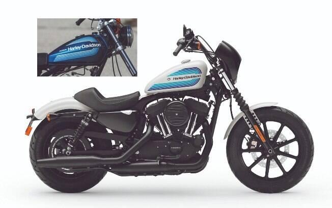 A Iron 1200 e, no detalhe, o tanque da Harley-Davidson Motovi SS 125 dos anos 70