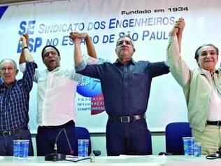 Juntos. Padilha recebeu o apoio do PCdoB ontem, quando aproveitou para se defender das acusações de que teria ligações com Youssef