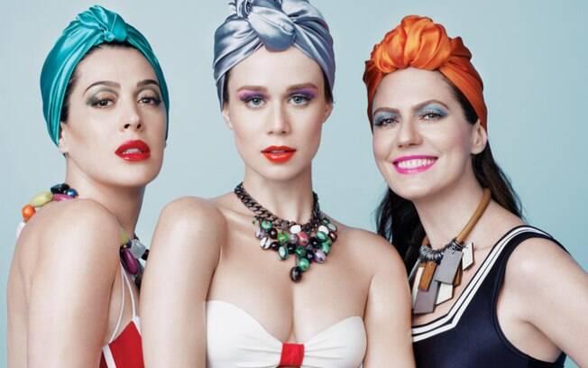Turbante em cena: campanha da Arezzo com as atrizes Cláudia Raia, Mariana Ximenes e Patrícia Pillar