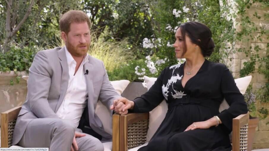 Príncipe Harry e Meghan Markle em entrevista a Oprah Winfrey