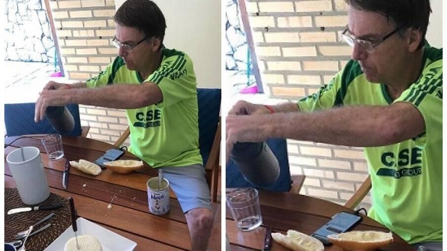 Bolsonaro gosta de comer pão com leite condensado