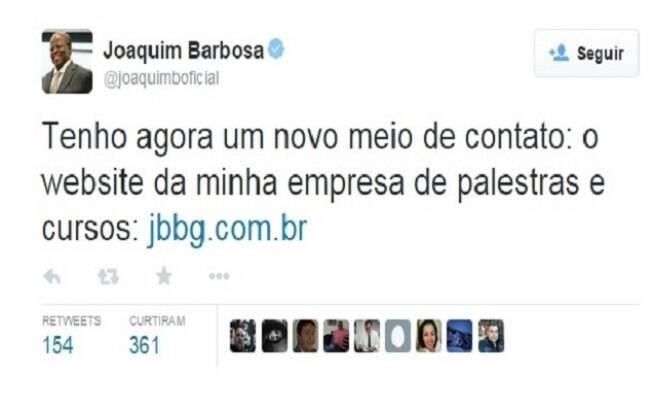 Joaquim Barbosa divulgou pelo Twitter a criação de sua empresa