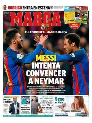 Capa do Marca com Messi e Neymar