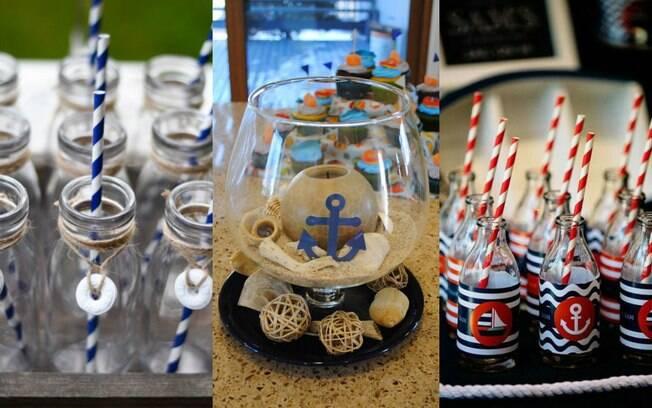 Vidros e canudos nas cores branco e vermelho ou branco e azul podem completar a festa com decoração de marinheiro
