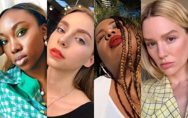 As tendências de maquiagem no Instagram incluem sombras, delineadores e batons coloridos, e sobrancelhas dramáticas