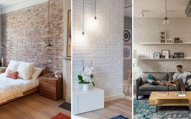 Tijolos aparentes dentro de casa podem sim trazer um ar leve para o ambiente