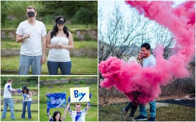 Para revelar o sexo do bebê, o casal pode usar tinta ou o clássico sinalizador com as cores rosa ou azul