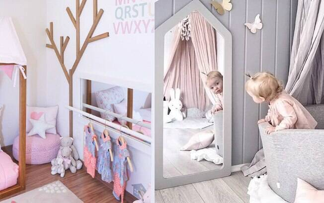 Colocar um espelho na altura dos olhos da criança pode ajudá-la a se reconhecer como indivíduo enquanto se desenvolve