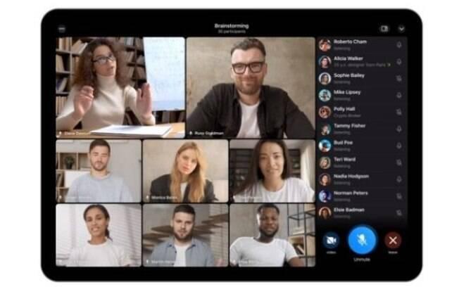 Chamada de vídeo em grupo no Telegram