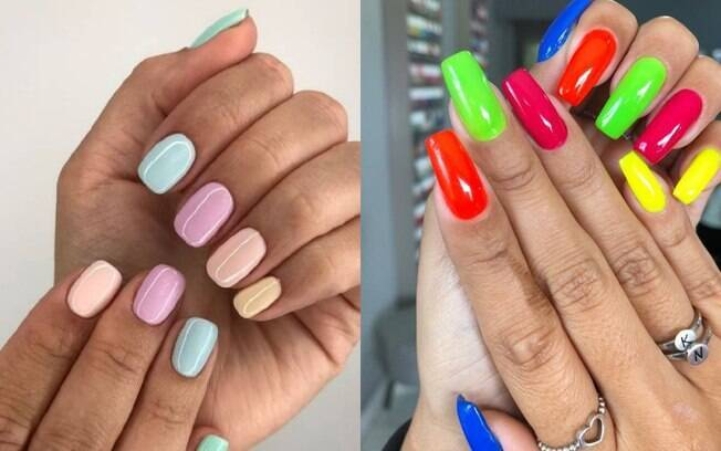 Para as 'skittle nails' você pode usar cores de esmalte neon ou apostar nas 'candy colours', que são tons pastel