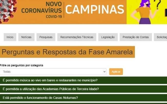 Campinas lança hotsite com dúvidas e respostas sobre a fase amarela