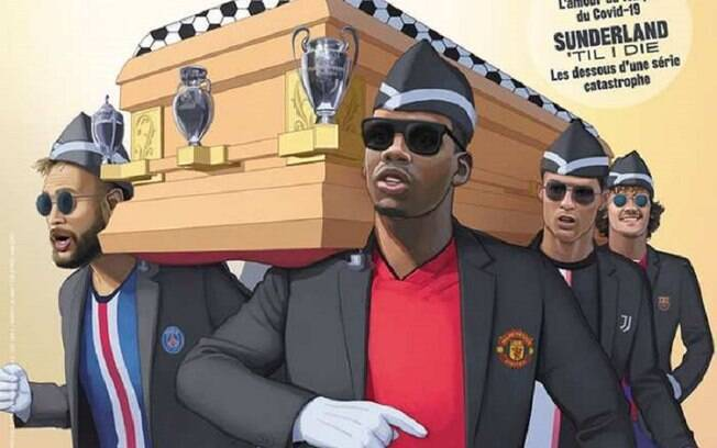 Jogadores carregam caixões em alusão ao meme