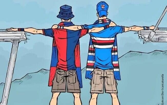 Arte que ilustrou bem o espírito dos torcedores antes do início do Campeonato Italiano