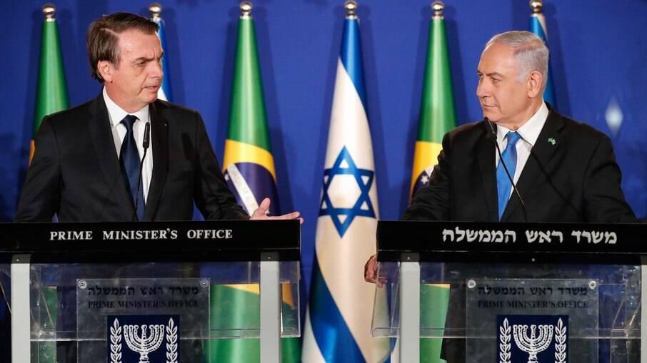 Presidente Jair Bolsonaro e o primeiro-ministro de Israel Benjamin Netanyahu