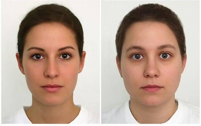 A Universidade Regensburg criou um protótipo do rosto feminino que mais atrai os homens (esquerda) e de um rosto que não desperta muita atenção (direita)