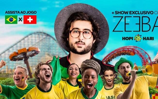 Hopi Hari recebe fãs para jogo do Brasil e show de Zeeba