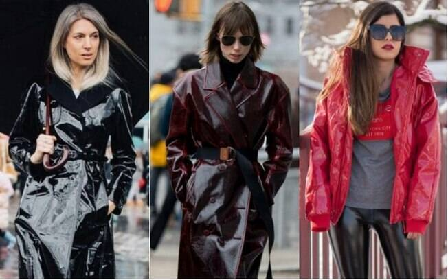 Casacos e jaquetas de vinil chegam para a moda urbana com referências de tecido e cores dos anos 80