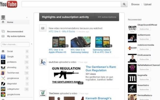 Nova página inicial do YouTube, ainda em fase de testes