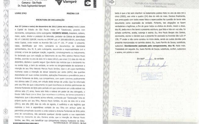 Carta assinada por Vicente Sesso
