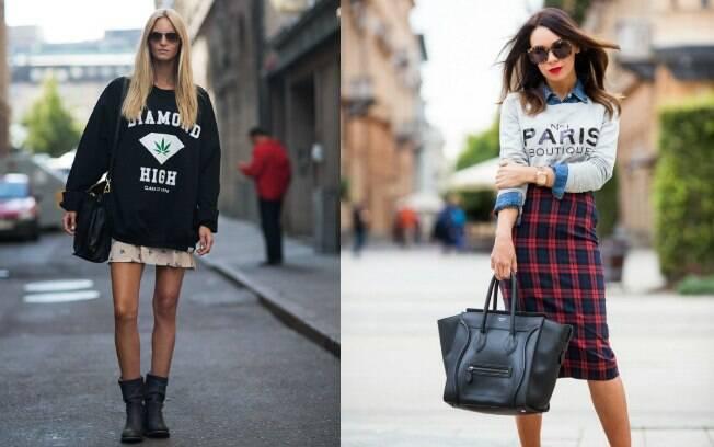 Nessa temporada, o moletom também aparece sobreposto a outras peças como camisas jeans, vestidos e casacos
