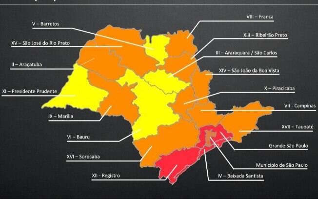 Mapa aponta em quais fases de flexibilização cada região está