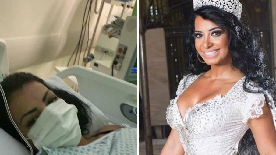 Cinthia Santos no hospital e como rainha de bateria