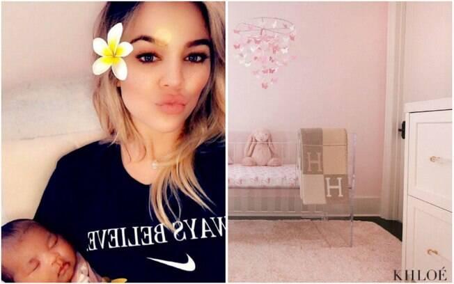As redes têm ido à loucura sobre a nova bebezinha de Khloe Kardashian, ainda mais agora com a foto do quarto da bebê