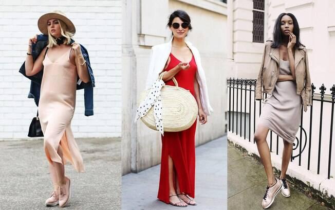 Os vestidos de festa longo ganham passe livre combinados com elementos casuais