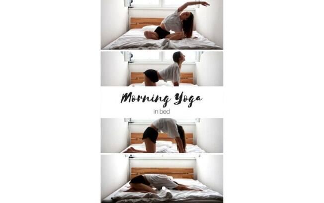 Além de se alongar com o ioga, outra opção é praticar a atividade na cama, com movimentos simples e leves