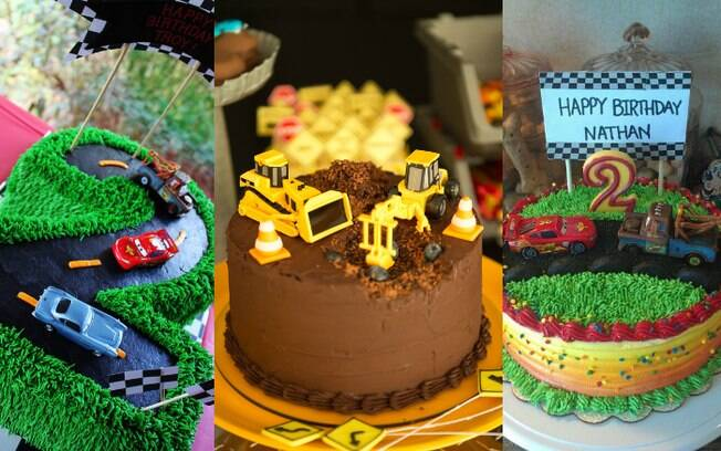 Não é preciso de pasta americana para criar ambientes e uma história em um bolo para uma festa com o tema carros