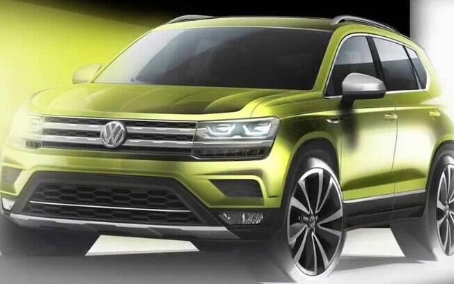 Novo SUV médio da Volkswagen estreia em agosto na China e tem primeiro esboço revelado