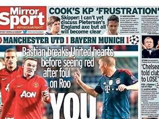 Capa da seção esportiva do Daily Mirror faz trocadilho infame com Schweinsteiger