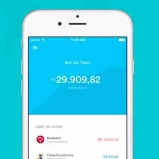 Tela inicial do aplicativo informa o saldo atual de todas as contas do usuário
