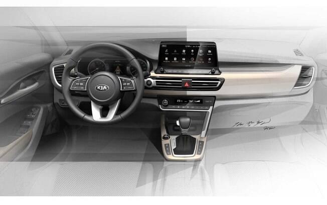 Interior do novo SUV da Kia terá grande tela do sistema multimídia, sensível ao toque, além de volante de três raios