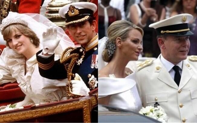 Casamentos reais  entre Carlos, Príncipe de Gales e Lady Diana Spencer (esq.) e entre Alberto II, Príncipe do Mônaco e Charlene Wittstock (dir.)