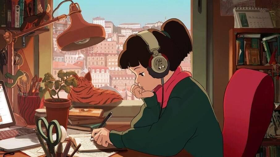A live mais famosa de 'lo-fi' tem uma garota estudando em looping