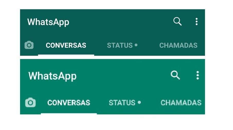 No topo, a cor antiga do WhatsApp; embaixo, o novo tom de verde